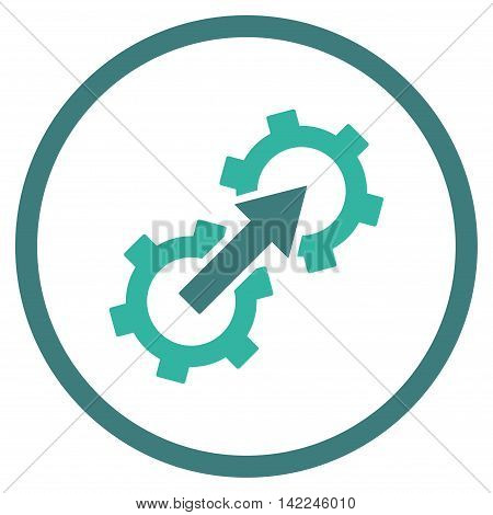 Gear Integration vector icon. Style is bicolor flat rounded iconic symbol, gear integration icon is drawn with cobalt and cyan colors on a white background.