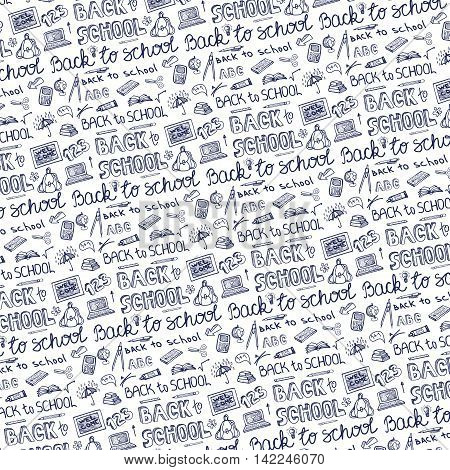 Back to School Supplies pattern Background.Doodles Sketchy Notebook  with Lettering and Hand Drawing icons.Vector Illustration .Blue Ink Design Elements on white Background.Teachers day