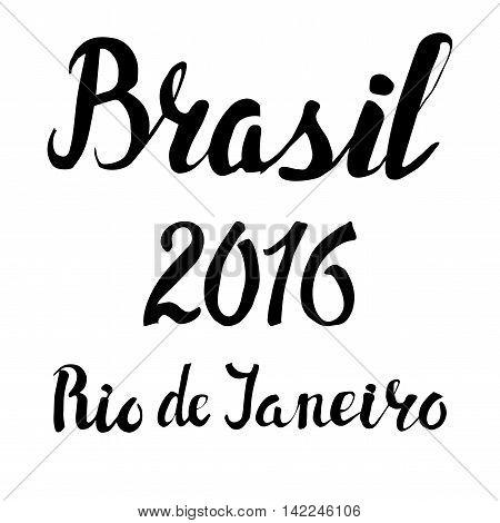 Brasil, Rio sport lettering set.Vector hand writing words.Summer 2016 competition games. Black illustration