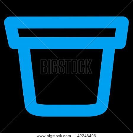 Pail vector icon. Style is contour flat icon symbol, blue color, black background.