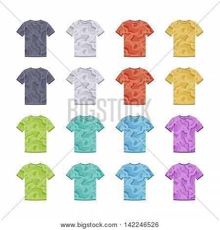 Male colored short sleeve t-shirts with the geometric camouflage templates collection. Front and back views. Vector flat illustrations