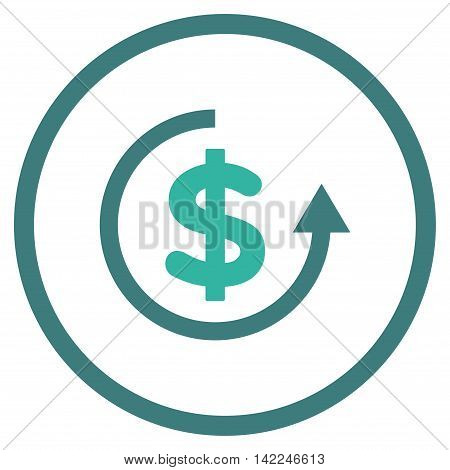 Refund vector icon. Style is bicolor flat rounded iconic symbol, refund icon is drawn with cobalt and cyan colors on a white background.