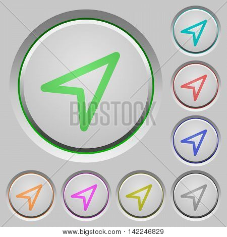 Set of color direction arrow sunk push buttons.