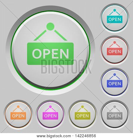 Set of color open sign sunk push buttons.