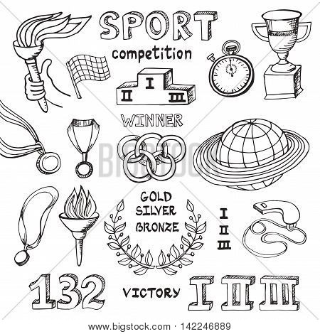 Sport doodle elements. Vector Winner of the competition set.Hand drawing sketch.Cup, medal, sport equipment icons. Handwriting numbers and words. Outline illustrations