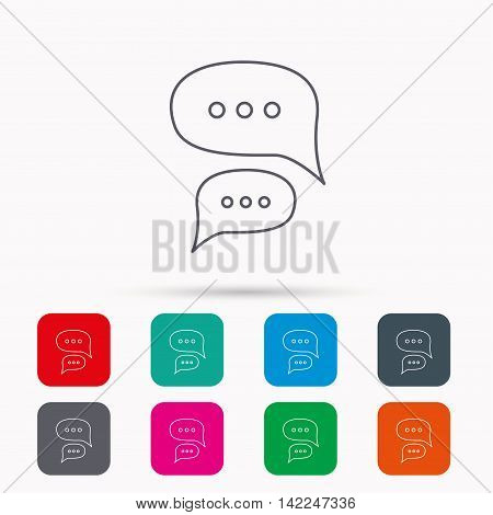 Chat icon. Comment message sign. Dialog speech bubble symbol. Linear icons in squares on white background. Flat web symbols. Vector
