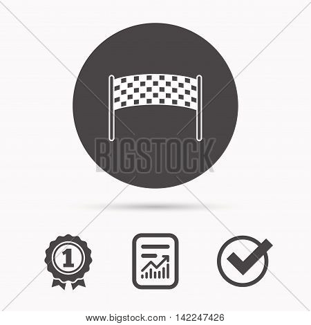 Finishing checkpoint icon. Marathon banner sign. Report document, winner award and tick. Round circle button with icon. Vector