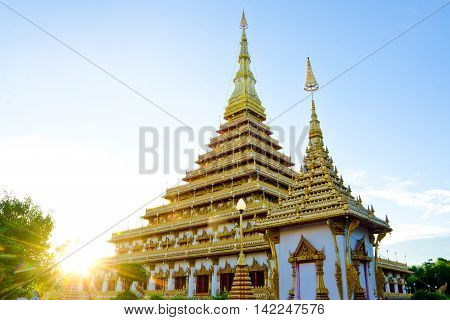 Thailand Bhudda Temple Golden Stupa Khonkaen Landmark,temple Sunset  In Khon Kaen, Thailand; Wat Non