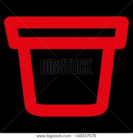 Pail vector icon. Style is outline flat icon symbol, red color, black background.