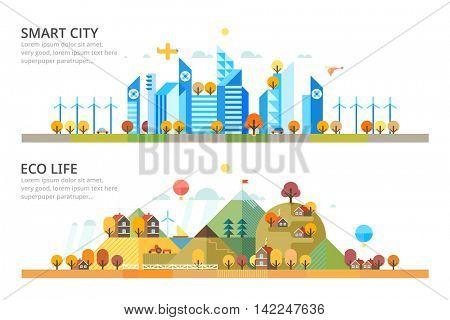 Autumn - Smart City & Ecology village. Horizontal banners.