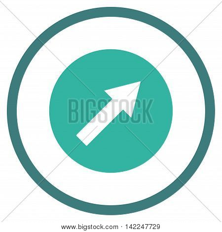 Up-Right Rounded Arrow vector icon. Style is bicolor flat rounded iconic symbol, up-right rounded arrow icon is drawn with cobalt and cyan colors on a white background.