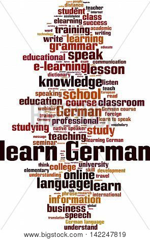 Learn German word cloud concept. Vector illustration