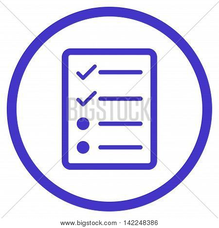 Checklist Page vector icon. Style is flat rounded iconic symbol, checklist page icon is drawn with violet color on a white background.