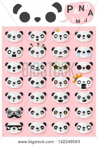 Panda emoji icons , vector , illustration