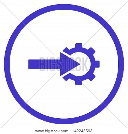 Cog Integration vector icon. Style is flat rounded iconic symbol, cog integration icon is drawn with violet color on a white background.