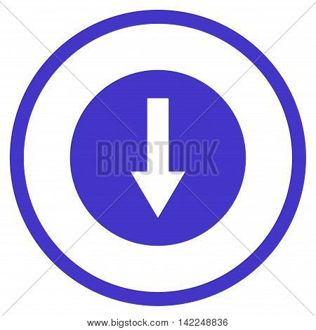 Down Rounded Arrow vector icon. Style is flat rounded iconic symbol, down rounded arrow icon is drawn with violet color on a white background.