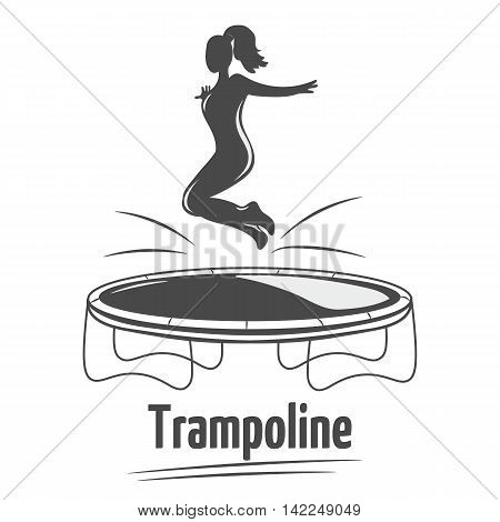 Woman jumping on the trampoline. Trampoline icon. Silhouette woman. Logo design.