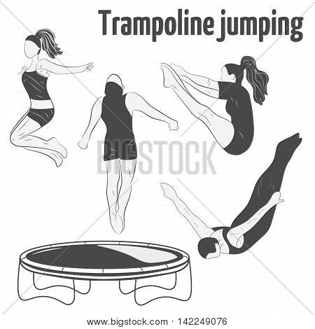People jumping on the trampoline. Trampoline icons. Logo design.