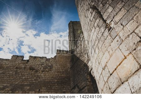 Medieval Donjon Tower of the castle in the French city of loches france Loire valley