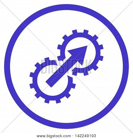 Gear Integration vector icon. Style is flat rounded iconic symbol, gear integration icon is drawn with violet color on a white background.