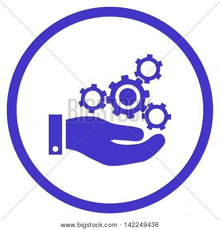 Mechanics Service vector icon. Style is flat rounded iconic symbol, mechanics service icon is drawn with violet color on a white background.