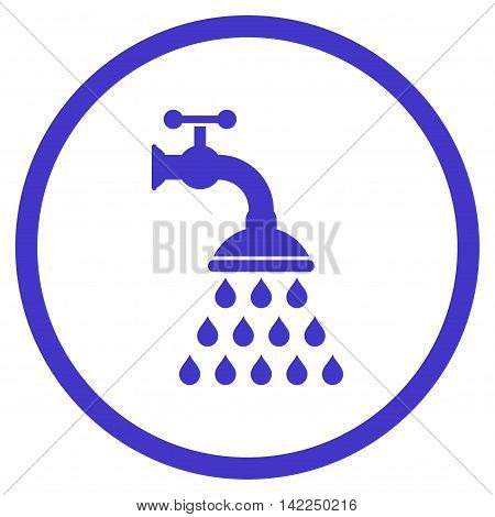 Shower Tap vector icon. Style is flat rounded iconic symbol, shower tap icon is drawn with violet color on a white background.