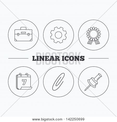 Award medal, pushpin and briefcase icons. Safety pin linear sign. Flat cogwheel and calendar symbols. Linear icons in circle buttons. Vector