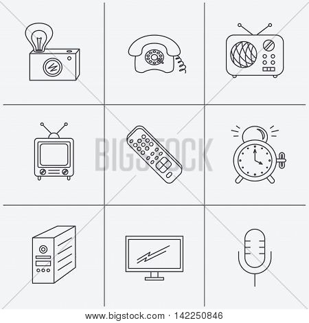 Retro camera, radio and phone call icons. Monitor, PC case and microphone linear signs. TV remote, alarm clock icons. Linear icons on white background. Vector