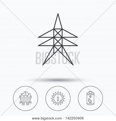 Solar energy, battery and minerals icons. Electricity station linear sign. Linear icons in circle buttons. Flat web symbols. Vector