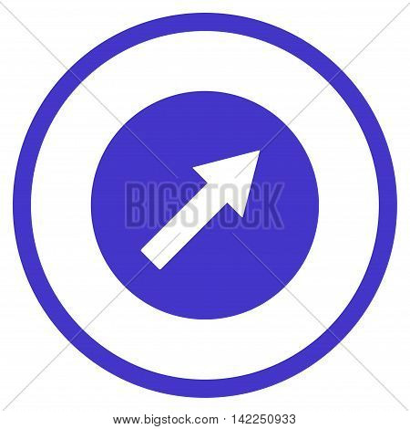Up-Right Rounded Arrow vector icon. Style is flat rounded iconic symbol, up-right rounded arrow icon is drawn with violet color on a white background.