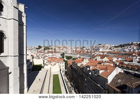 LISBON, PORTUGAL - September 25, 2015: View of the old town from the ruins of the Carmo Monastery on September 25, 2015 in Lisbon, Portugal