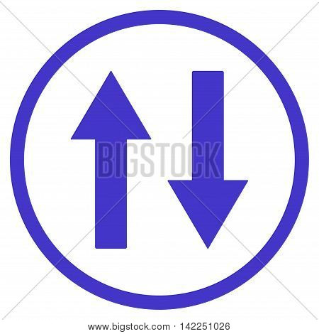 Vertical Flip Arrows vector icon. Style is flat rounded iconic symbol, vertical flip arrows icon is drawn with violet color on a white background.