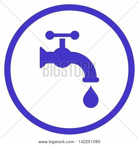 Water Tap vector icon. Style is flat rounded iconic symbol, water tap icon is drawn with violet color on a white background.