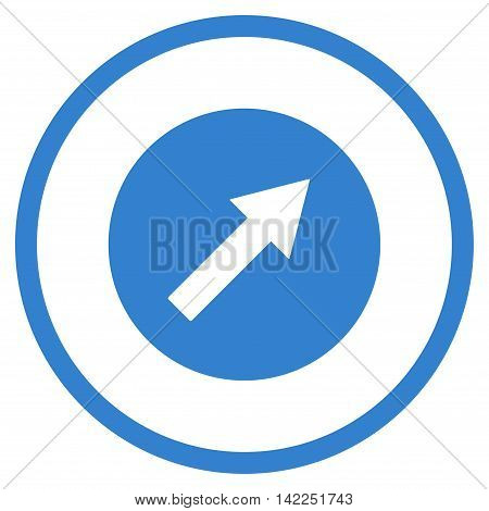 Up-Right Rounded Arrow vector icon. Style is flat rounded iconic symbol, up-right rounded arrow icon is drawn with cobalt color on a white background.