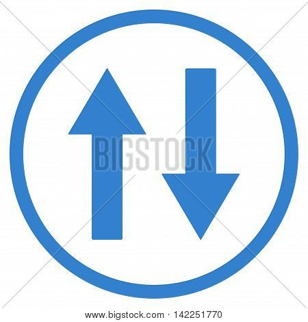 Vertical Flip Arrows vector icon. Style is flat rounded iconic symbol, vertical flip arrows icon is drawn with cobalt color on a white background.