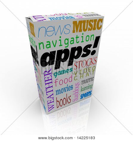 Apps Word On Cereal Box And Many Software Types