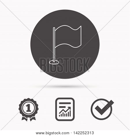 Waving flag icon. Location pointer sign. Report document, winner award and tick. Round circle button with icon. Vector