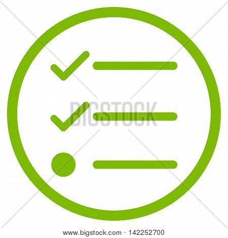Checklist vector icon. Style is flat rounded iconic symbol, checklist icon is drawn with eco green color on a white background.