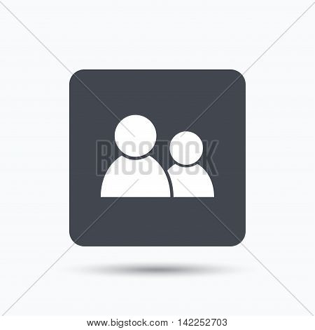 Friends icon. Group of people sign. Communication symbol. Gray square button with flat web icon. Vector