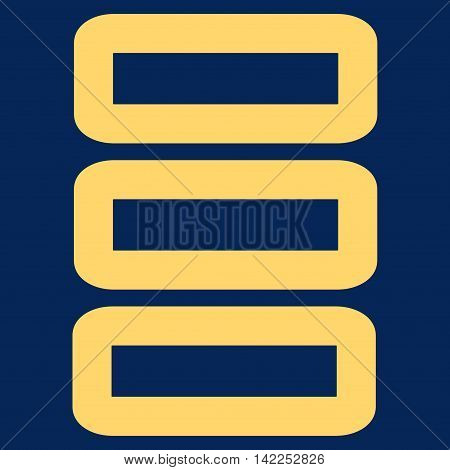 Database vector icon. Style is linear flat icon symbol, yellow color, blue background.