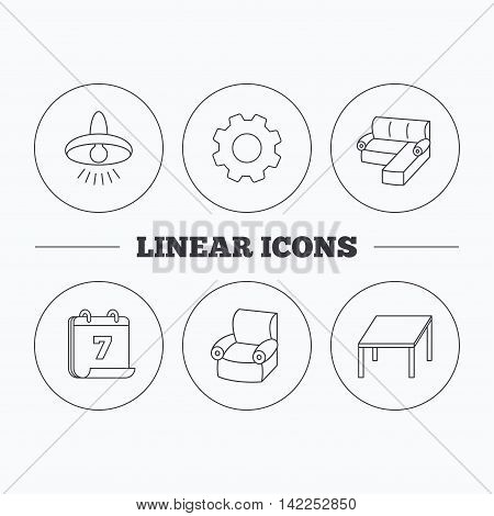 Corner sofa, table and armchair icons. Ceiling lamp linear signs. Flat cogwheel and calendar symbols. Linear icons in circle buttons. Vector