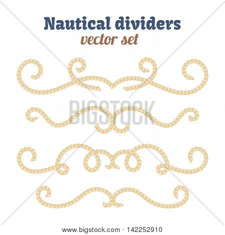 Nautical text dividers. Decorative vector knots. Divider with rope illustration. Ornamental decor elements with rope. Isolated design.