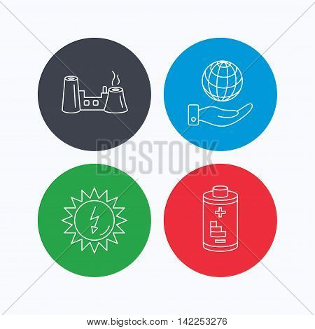 Save planet, factory and battery icons. Solar energy linear sign. Linear icons on colored buttons. Flat web symbols. Vector