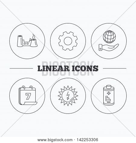 Save planet, factory and battery icons. Solar energy linear sign. Flat cogwheel and calendar symbols. Linear icons in circle buttons. Vector