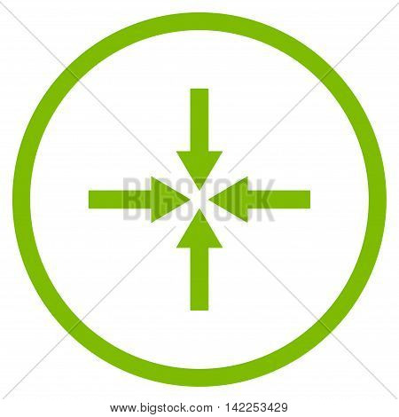Impact Arrows vector icon. Style is flat rounded iconic symbol, impact arrows icon is drawn with eco green color on a white background.