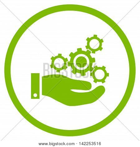 Mechanics Service vector icon. Style is flat rounded iconic symbol, mechanics service icon is drawn with eco green color on a white background.