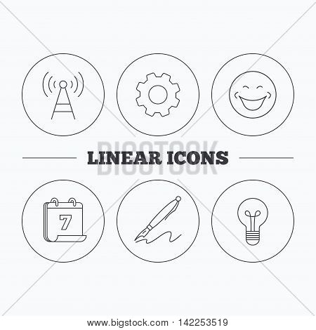 Pen, telecommunication and lightbulb icons. Smiling face linear sign. Flat cogwheel and calendar symbols. Linear icons in circle buttons. Vector