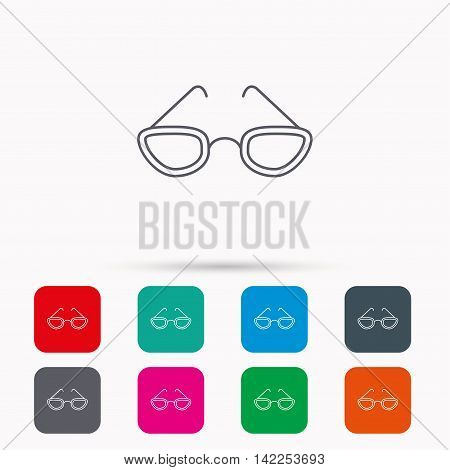 Glasses icon. Reading accessory sign. Linear icons in squares on white background. Flat web symbols. Vector