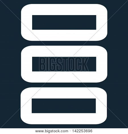 Database vector icon. Style is stroke flat icon symbol, white color, dark blue background.