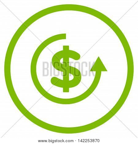 Refund vector icon. Style is flat rounded iconic symbol, refund icon is drawn with eco green color on a white background.